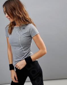 Серая премиум-футболка с сетчатой вставкой на спине adidas - Серый