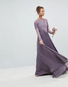 Плиссированное кружевное платье макси с длинными рукавами ASOS - Фиолетовый