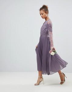 Кружевное плиссированное платье миди с длинными рукавами ASOS - Фиолетовый