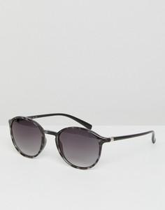 Круглые солнцезащитные очки в серой черепаховой оправе Esprit - Серый