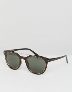 Круглые черепаховые солнцезащитные очки с планкой сверху Esprit - Коричневый