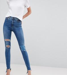 Рваные джинсы скинни с завышенной талией ASOS TALL RIDLEY - Синий