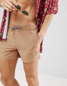 Коричневые короткие шорты для плавания ASOS - Коричневый