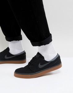 Черные парусиновые кроссовки с резиновой подошвой Nike SB Stefan Janoski 615957-020 - Черный