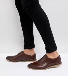 Светло-коричневые кожаные туфли на шнуровке для широкой стопы с перфорацией ASOS - Рыжий