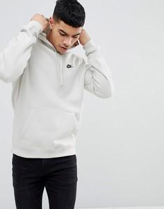 Серый флисовый пуловер с капюшоном Nike Club 804346-072 - Серый