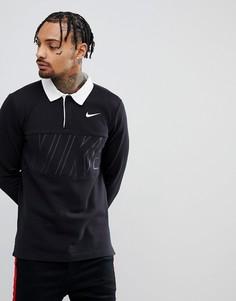 Черный лонгслив-поло Nike SB 885847-010 - Черный