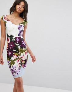 Платье-футляр с V-образным вырезом и цветочным принтом City Goddess - Синий