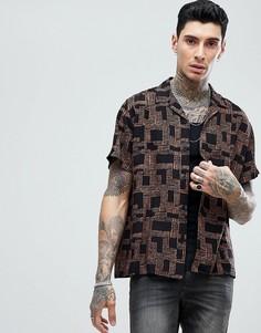 Oversize-рубашка из вискозы с геометрическим принтом и отложным воротником ASOS - Коричневый