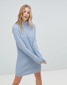 Платье-джемпер с узором косичка b.Young - Синий