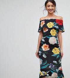 Платье миди с броским цветочным принтом и вырезом лодочкой True Violet Tall - Черный