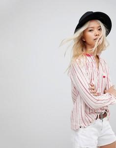 Блузка в полоску с кисточками Maision Scotch - Красный