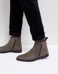 Серые кожаные ботинки челси ASOS - Серый