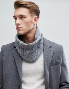 Серый шарф-снуд с узором косичка Esprit - Серый