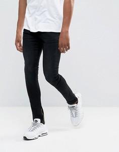 Черные джинсы скинни с покрытием и молниями DML - Черный