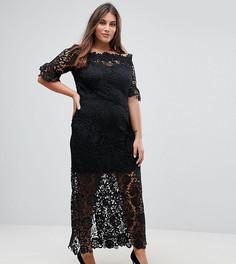 Ажурное платье макси с оборками на рукавах Paper Dolls Plus - Черный
