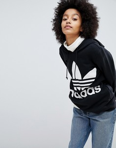 Худи черного цвета с логотипом-трилистником adidas Originals adicolor - Черный
