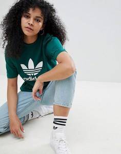 Свободная зеленая футболка adidas Originals adicolor - Зеленый