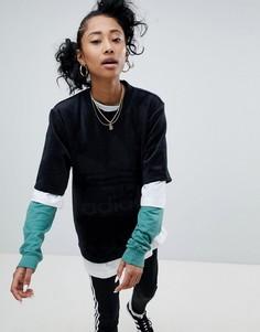 Черная велюровая оversize-футболка adidas Originals - Черный