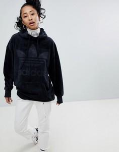 Oversize-худи из велюра черного цвета adidas Originals - Черный