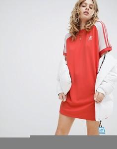 Красное платье с рукавами реглан и тремя полосками adidas Originals adicolor - Красный