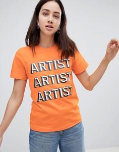 Футболка с надписью Artist House Of Holland - Оранжевый