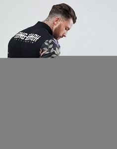 Трикотажная куртка с цветочным принтом на рукавах и надписью на спине ASOS - Черный