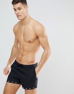 Короткие шорты для плавания с люверсами ASOS - Черный