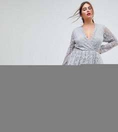 Кружевное платье миди для выпускного с длинными рукавами ASOS CURVE - Серый