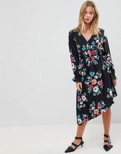 Платье с асимметричным подолом и цветочным принтом Influence - Мульти