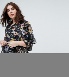 Свободное платье с завязками на рукавах Yumi Plus - Черный