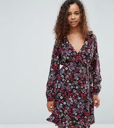 Платье с запахом и цветочным принтом Yumi Petite - Темно-синий