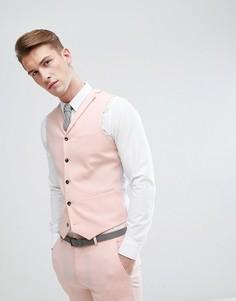 Светло-персиковый приталенный жилет ASOS Wedding - Розовый