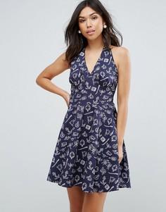 Платье в стиле 50-х с халтером и принтом Hell Bunny - Темно-синий