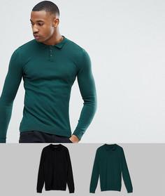Набор из 2 облегающих футболок-поло зеленого/черного цвета ASOS - СКИДКА - Мульти