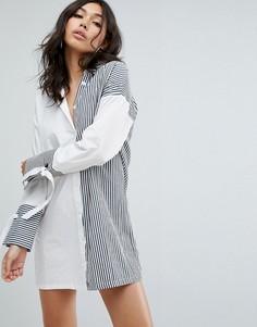Платье-рубашка со вставками в полоску Boohoo - Мульти