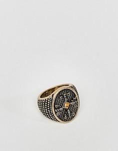 Золотистое кольцо с камнем ASOS - Золотой