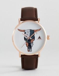 Часы цвета розового золота с элементом в виде головы барана ASOS - Коричневый