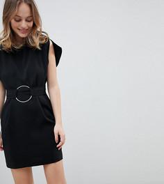 Платье мини с разрезами на рукавах и поясом с кольцами ASOS PETITE - Черный