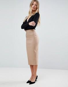 Длинная юбка-карандаш ASOS - Светло-бежевый