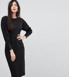 Платье-футляр миди с длинными рукавами ASOS TALL - Черный