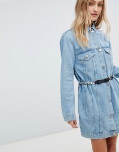 Синяя джинсовая длинная куртка с поясом ASOS - Синий