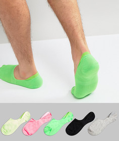 Набор из 5 пар носков-невидимок неоновых цветов ASOS - Мульти