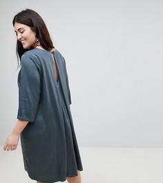 Платье А-силуэта с рукавами 3/4 и плиссировкой на спине Junarose - Серый