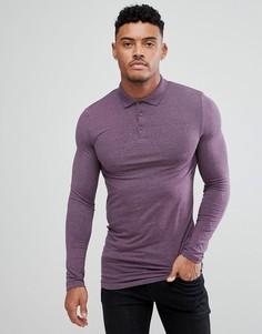 Фиолетовый облегающий длинный лонгслив-поло ASOS - Фиолетовый