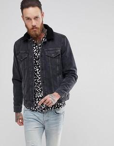 Черная джинсовая куртка с воротником борг AllSaints - Черный
