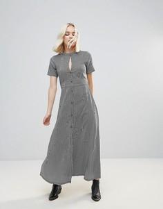 Платье макси в полоску с вырезом капелькой Rock & Religion - Черный