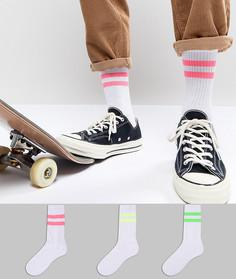 3 пары носков в спортивном стиле с неоновыми полосками ASOS - Мульти