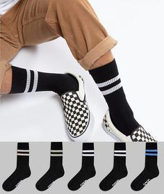 5 пар носков в спортивном стиле с пастельными полосками и названием бренда ASOS - Черный