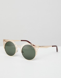 Солнцезащитные очки кошачий глаз с вырезами Quay Australia - Золотой